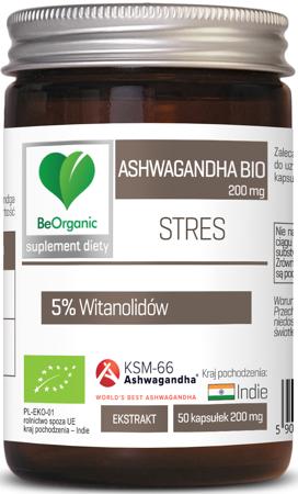 BeOrganic Ashwagandha BIO KSM-66 200 mg 50 kapsułek