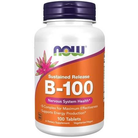 Now Foods B-100 Witamina B Complex 100 tabletek o przedłużonym wchłanianiu