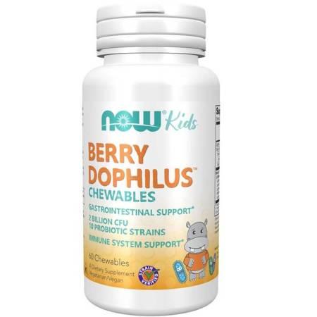 Now Foods Probiotyk Berry Dophilus Kids 10 szczepów 60 tabletek do ssania