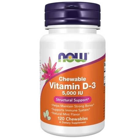 Now Foods Witamina D3 5000 iu Chewable 120 tabletek do ssania