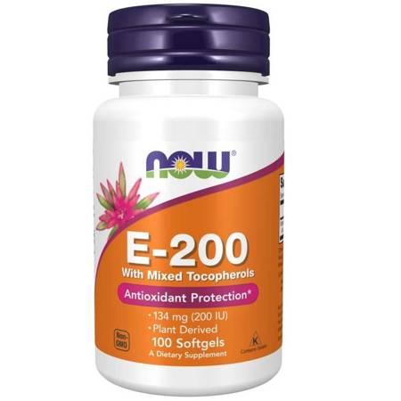 Now Foods Witamina E-200 (z mieszanką tokoferoli) 100 kapsułek