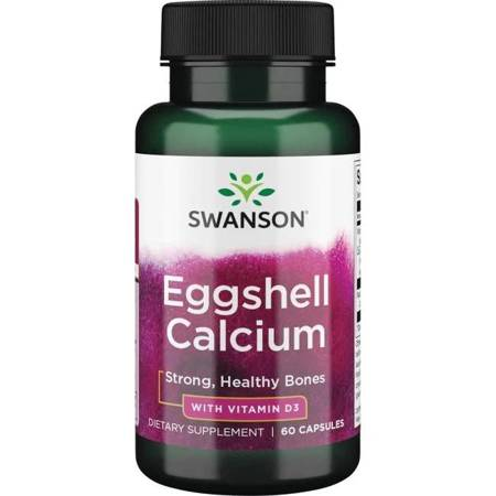 Swanson Eggshell Wapno + Witamina D3 60 kapsułek