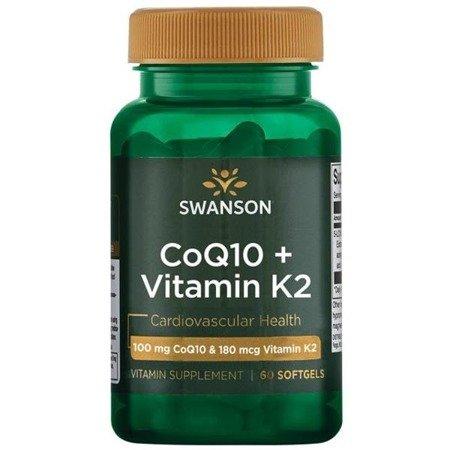 Swanson Koenzym Q10 100 mg + Witamina  K2 180 mcg 60 kapsułek