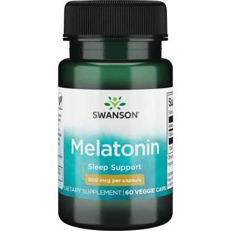 Swanson Melatonina 500 mcg 60 kapsułek